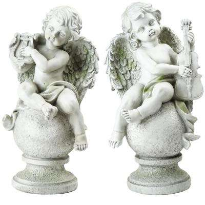 6.5 in. Cherub Angels with Instruments Sitting on Finials Outdoor Garden Statues (Set of 2)