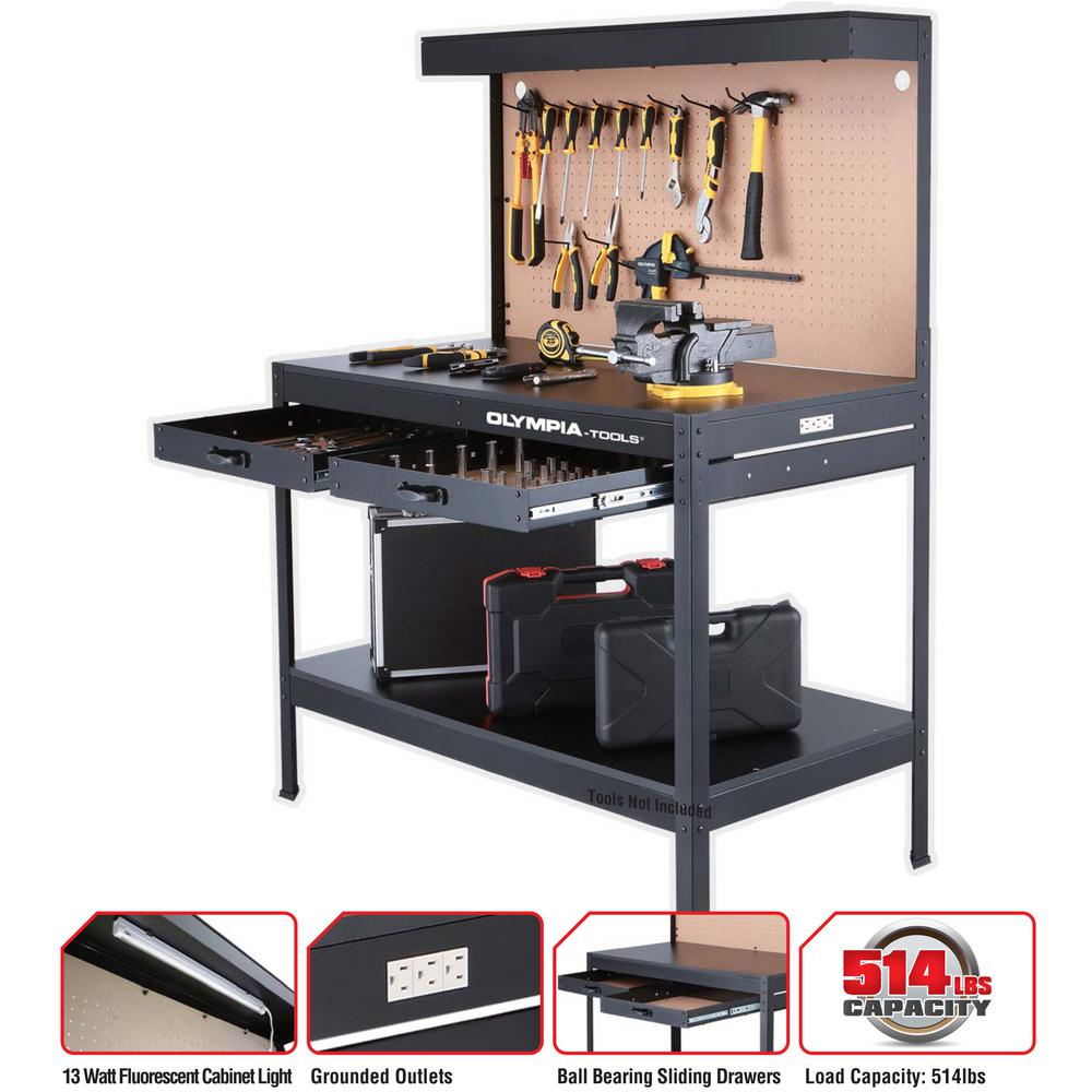 Steel Garage Workbench With Power Outlet Plug And Light