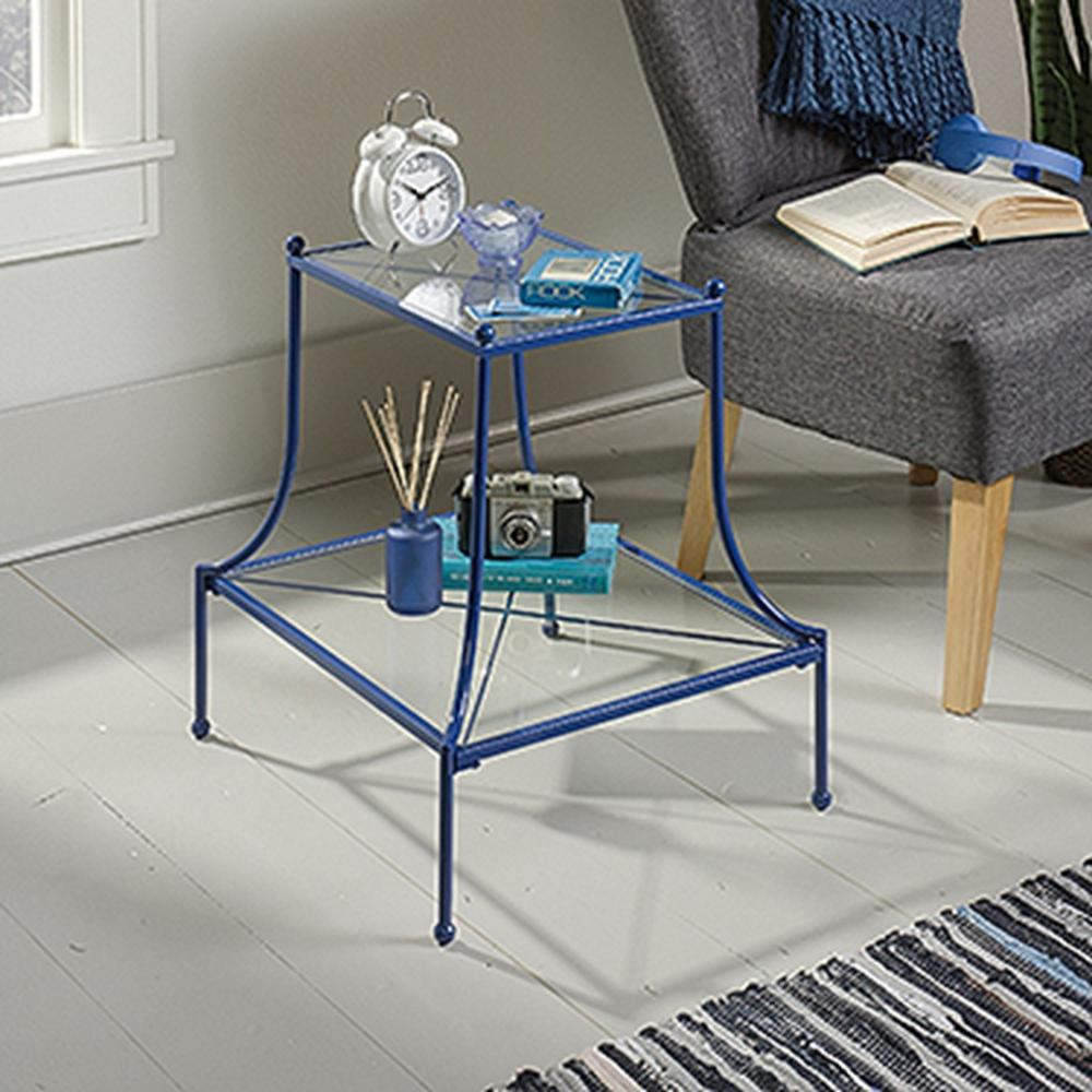Eden Rue Blue Tiered Glass End/Side Table