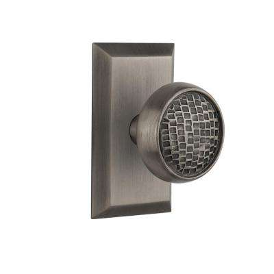 Studio Plate 2-3/8 in. Backset Antique Pewter Privacy Craftsman Door Knob