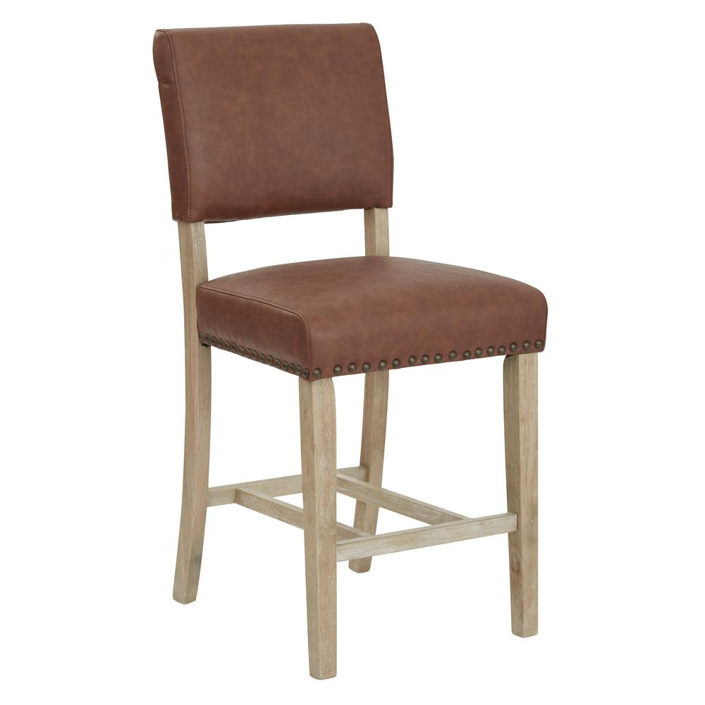 Carson 41 in. Counter Stool in Brown, Elite Saddle
