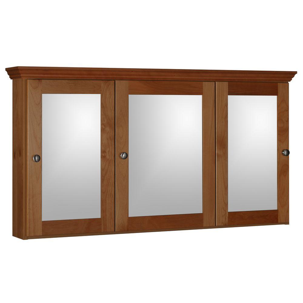 Shaker 48 in. W x 27 in. H x 6-1/2 in. D Framed Tri View Surface-Mount Bathroom Medicine Cabinet in Medium Alder