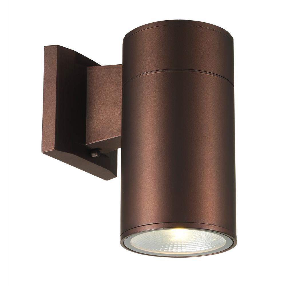 Compact 1-Light Bronze Integrated LED Outdoor Wall Mount Cylinder Light