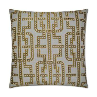 Manhattan Yellow Feather Down 24 in. x 24 in. Standard Decorative Throw Pillow