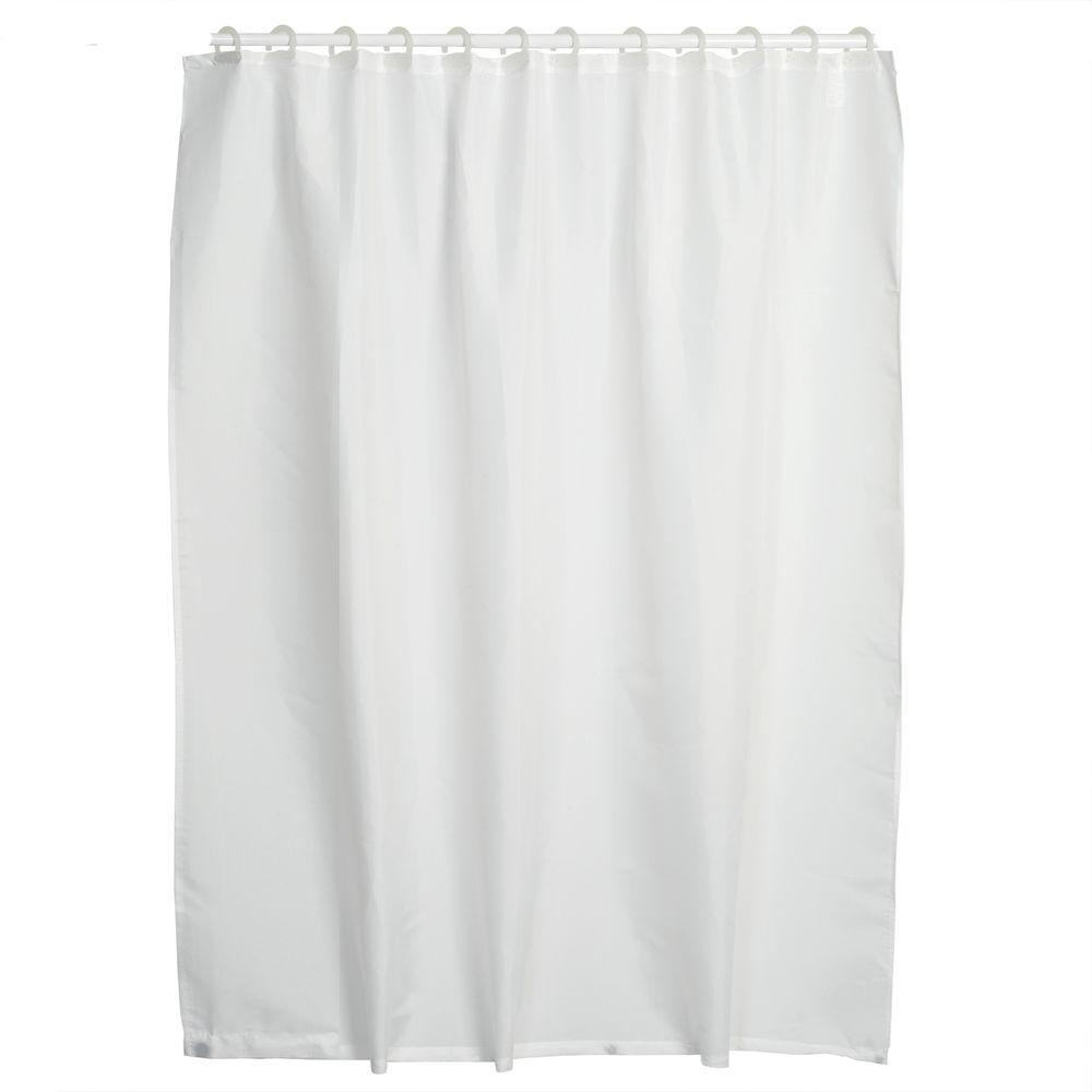 Integrated Shower Curtain Liner With Hook In White