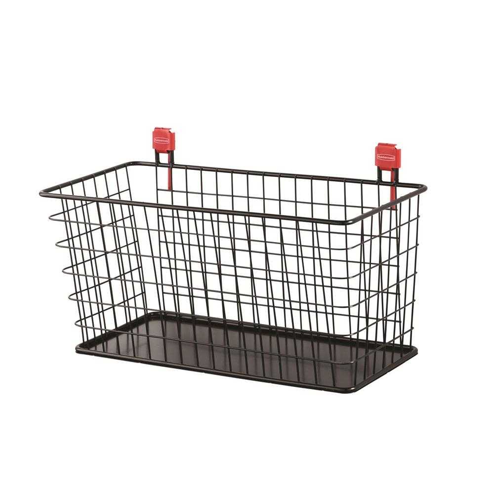 Rubbermaid Large Black Shed Wire Basket 2024652 The Home Depot Diy Electrical Wiring