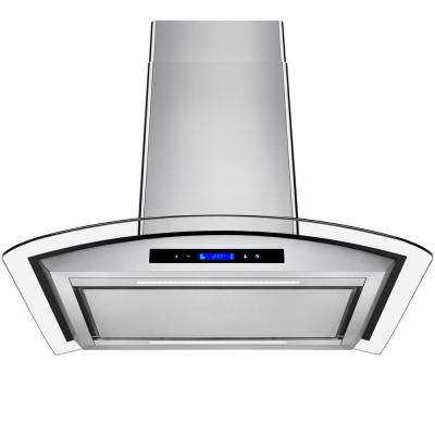30 in. Convertible Island Mount Range Hood in Stainless Steel with Tempered Glass and Touch Controls