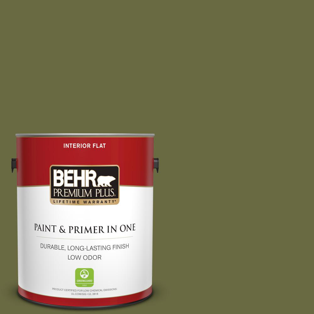 Behr Premium Plus 1 Gal Home Decorators Collection Hdc Cl 20 Portsmouth Olive Flat Low Odor Interior Paint Primer 130001 The Home Depot
