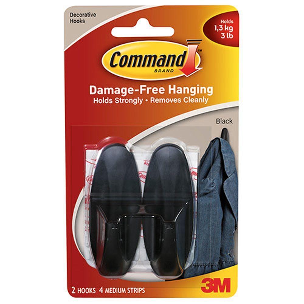 Command 1 lb  2-1/4 in  White Small Plastic Hooks (2 Hooks, 4 Strips)