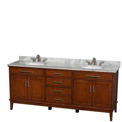 Hatton 80 in. Double Vanity in Light Chestnut with Marble Vanity Top in Carrara White and Oval Sinks