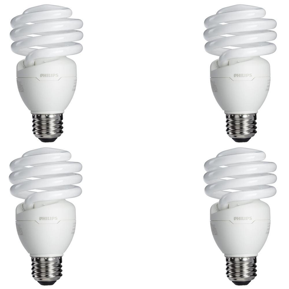 Philips 75 Watt Equivalent T2 Spiral CFL Light Bulb Soft White (4 Pack