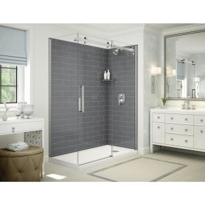 Maax Utile Origin 32 In X 60 In X 83 5 In Alcove Shower Stall In Greige With Left Drain Base In White 106254 000 001 101 The Home Depot