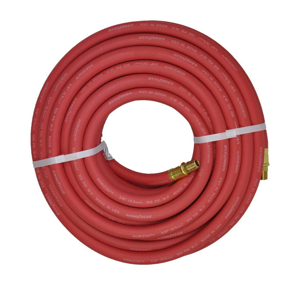 null 3/8 in. x 50 ft. Red Rubber Horizon Male x Male Fittings Hose