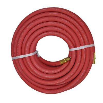 3/8 in. x 50 ft. Red Rubber Horizon Male x Male Fittings Hose