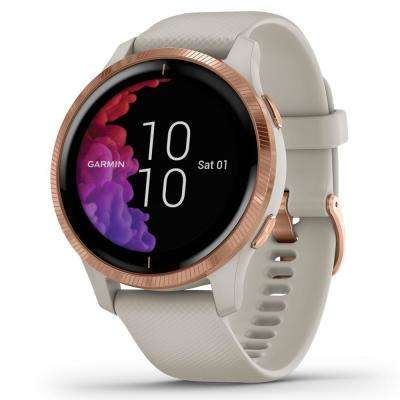 Venu GPS Smart Watch in Rose Gold Stainless Steel Bezel with Light Sand Case and Silicone Band