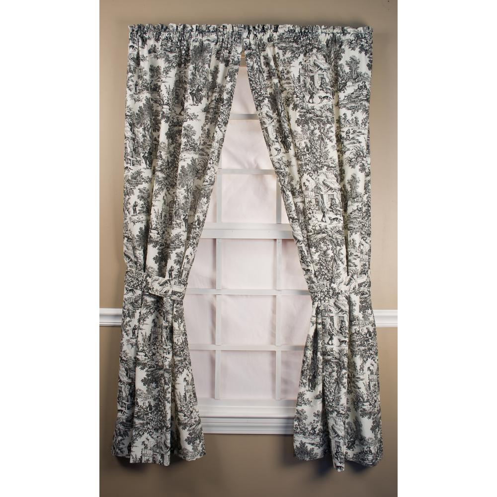 Ellis Curtain Victoria Park Toile Black Cotton Tailored Panel Pair with Ties - 68 in. W x 63 in. L
