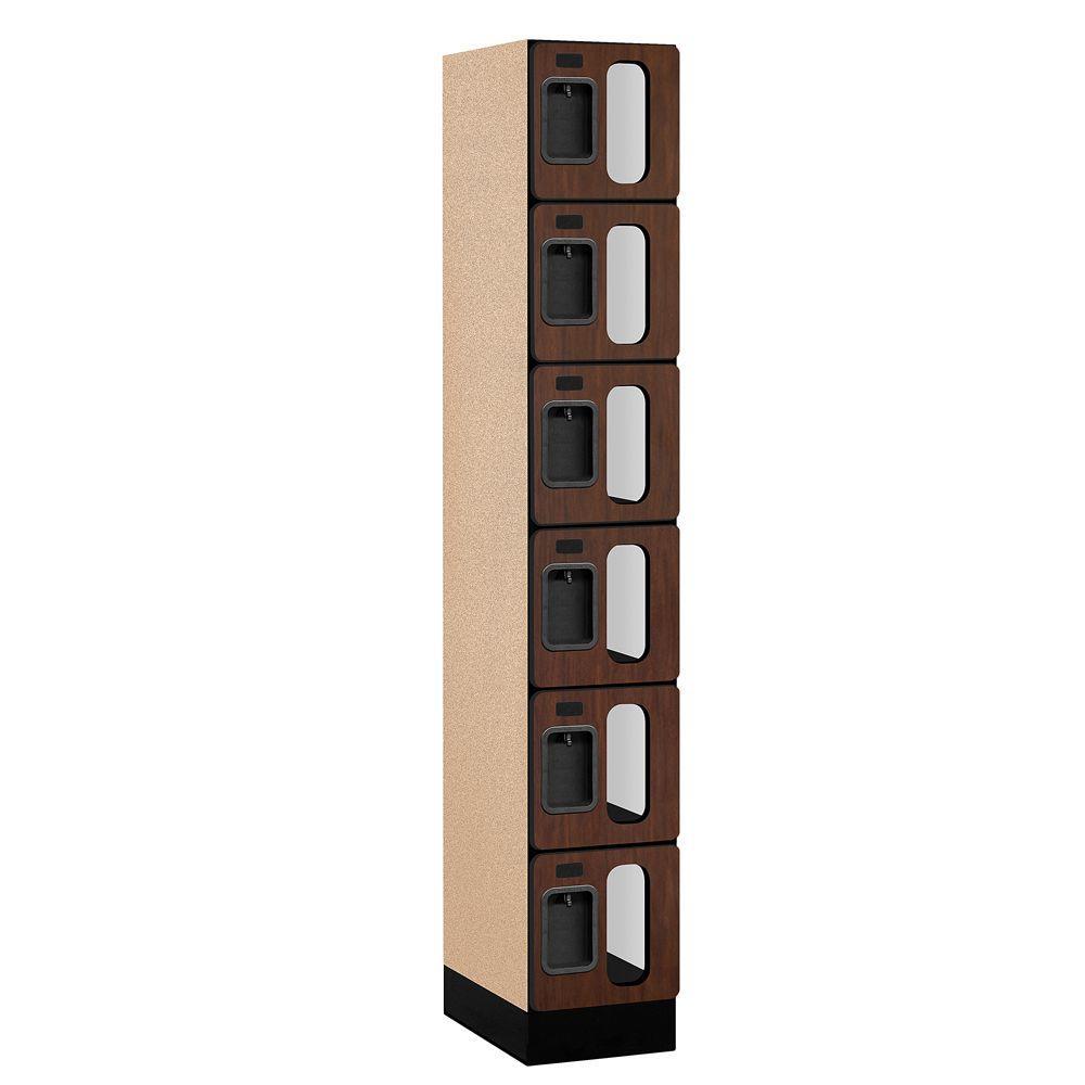 Salsbury Industries S-36000 Series 12 in. W x 76 in. H x 18 in. D 6-Tier Box Style See-Through Designer Wood Locker in Mahogany