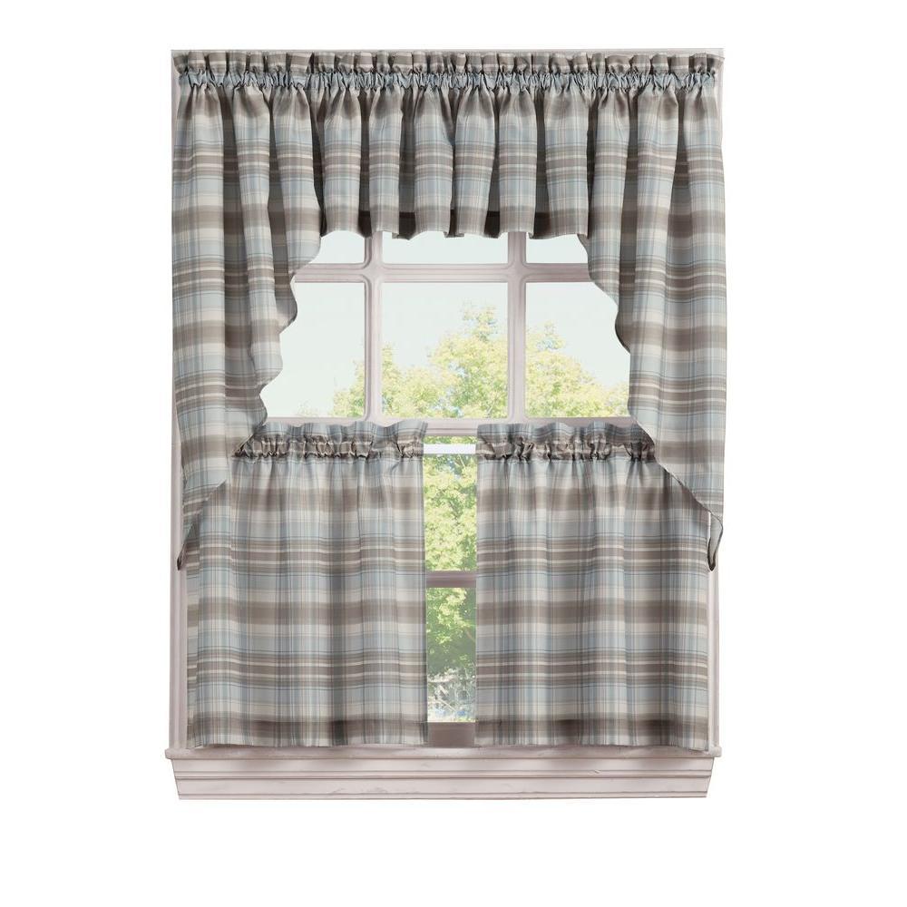 Lichtenberg Semi Opaque Blue Dawson Microfiber Plaid Kitchen Curtain Tiers 58 In W X 24 In L