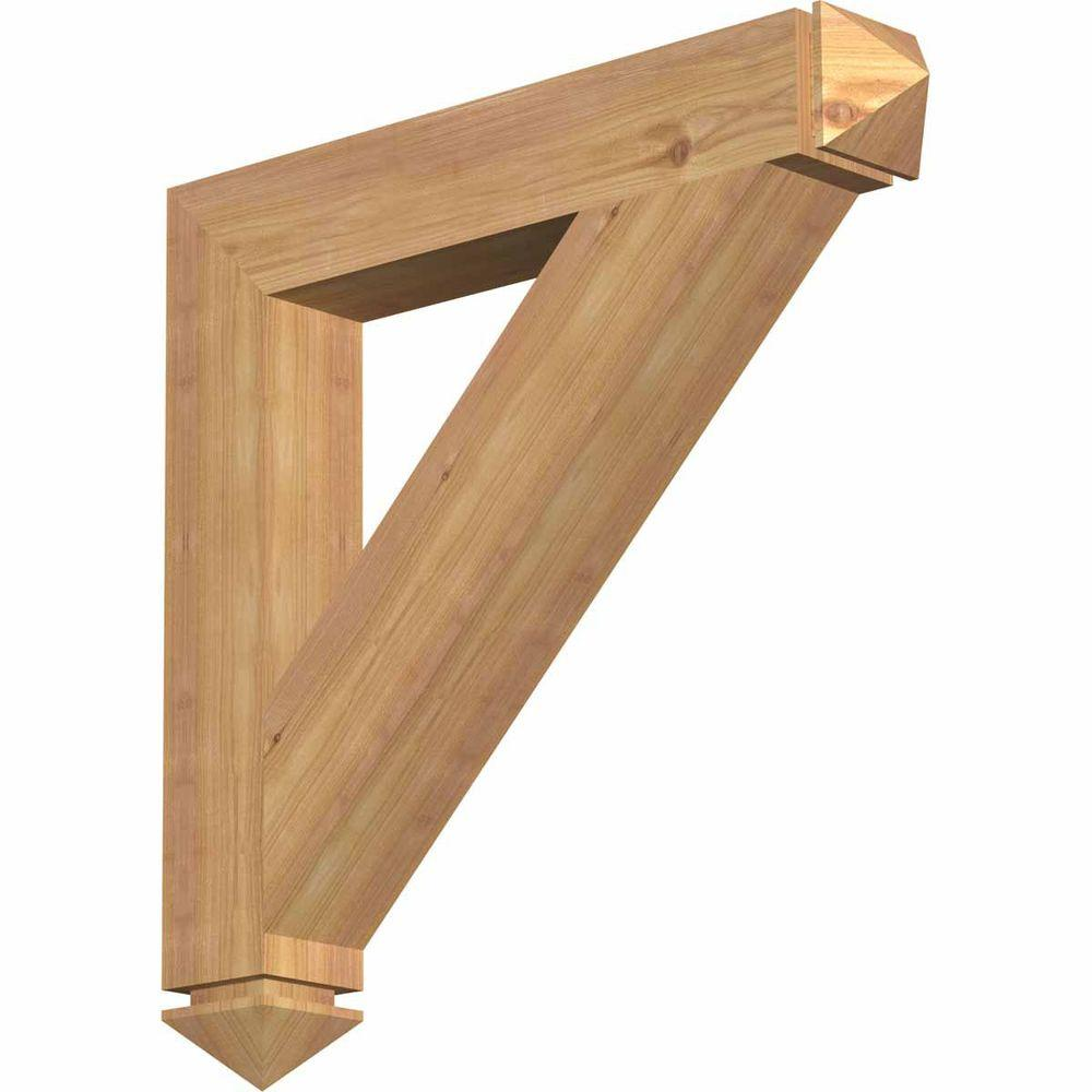 Ekena Millwork 3.5 in. x 24 in. x 24 in. Western Red Cedar Traditional Arts and Crafts Smooth Bracket