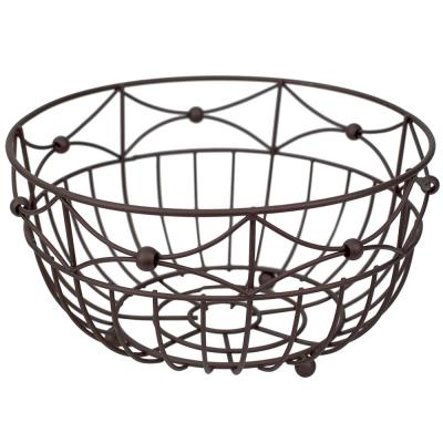 Arbor Collection Large Capacity Decorative Non-Skid Steel Fruit Bowl, Oil Rubbed Bronze