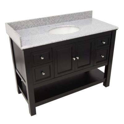 Gazette 49 in. Vanity in Espresso with Granite Vanity Top in Rushmore Grey with Single Bowl