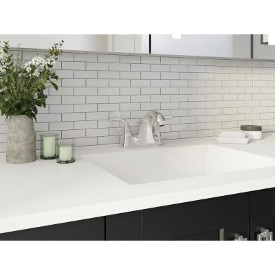 Forte 4 in. Centerset 2-Handle Low-Arc Water-Saving Bathroom Faucet in Polished Chrome with Sculpted Lever Handles