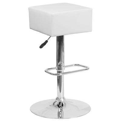 22.5 in. to 30.25 in. H White Bar Stool