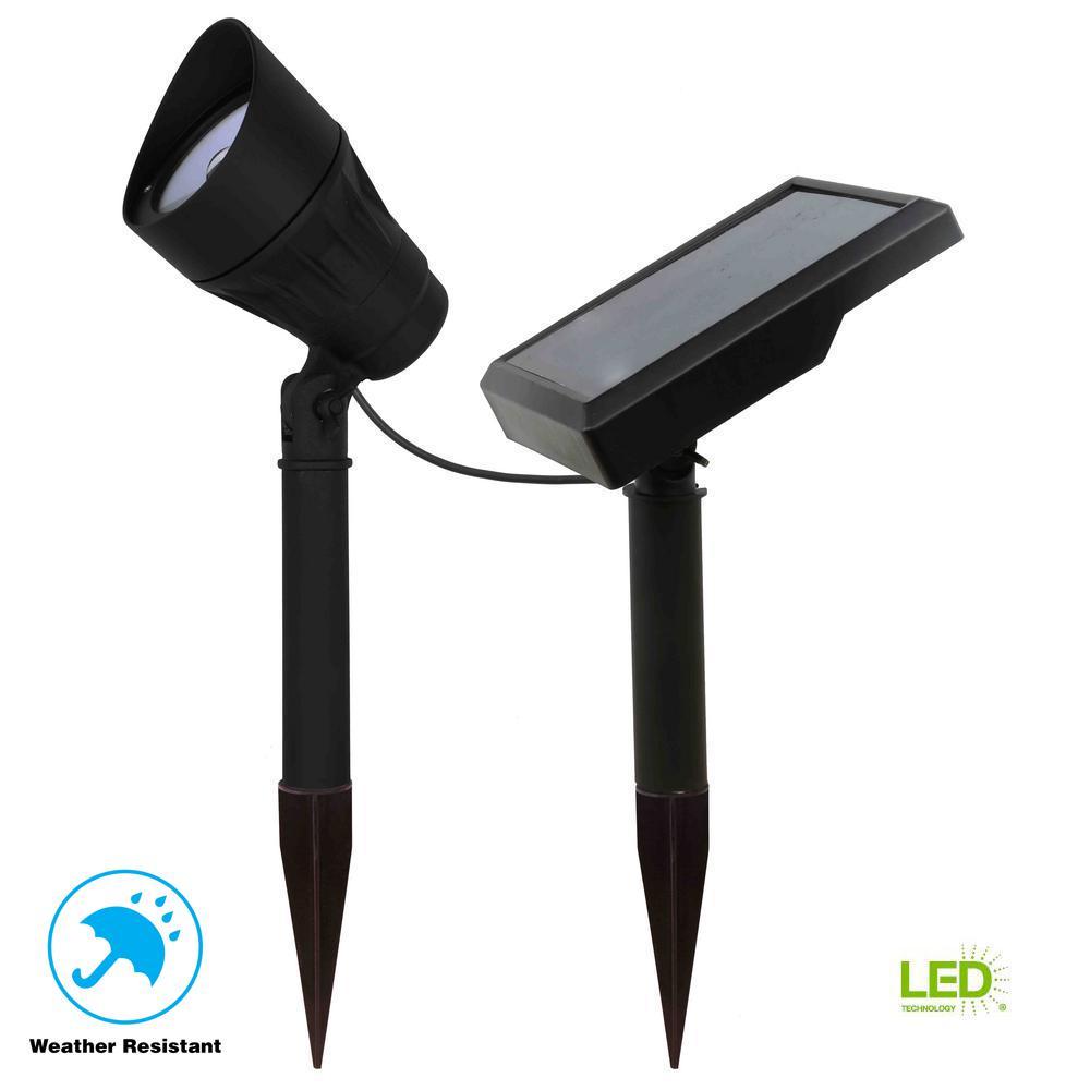 Hampton Bay Solar Black Outdoor Integrated LED 3000K 40-Lumens Warm White Landscape Metal Spot Light with Solar Panel