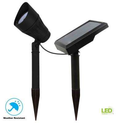 Solar Black Outdoor Integrated LED 3000K 40-Lumens Warm White Landscape Metal Spot Light with Solar Panel