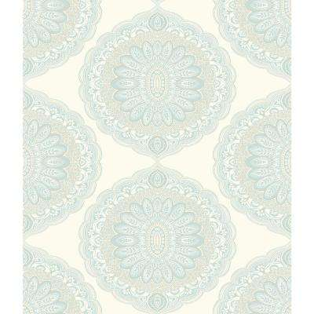 56.4 sq. ft. Bolinas Aquamarine Medallion Wallpaper