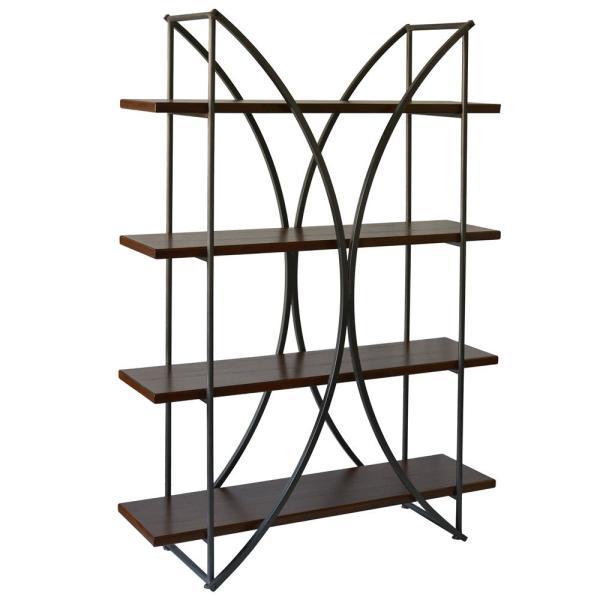 71 in. Black Metal 4-shelf Accent Bookcase with Open Back