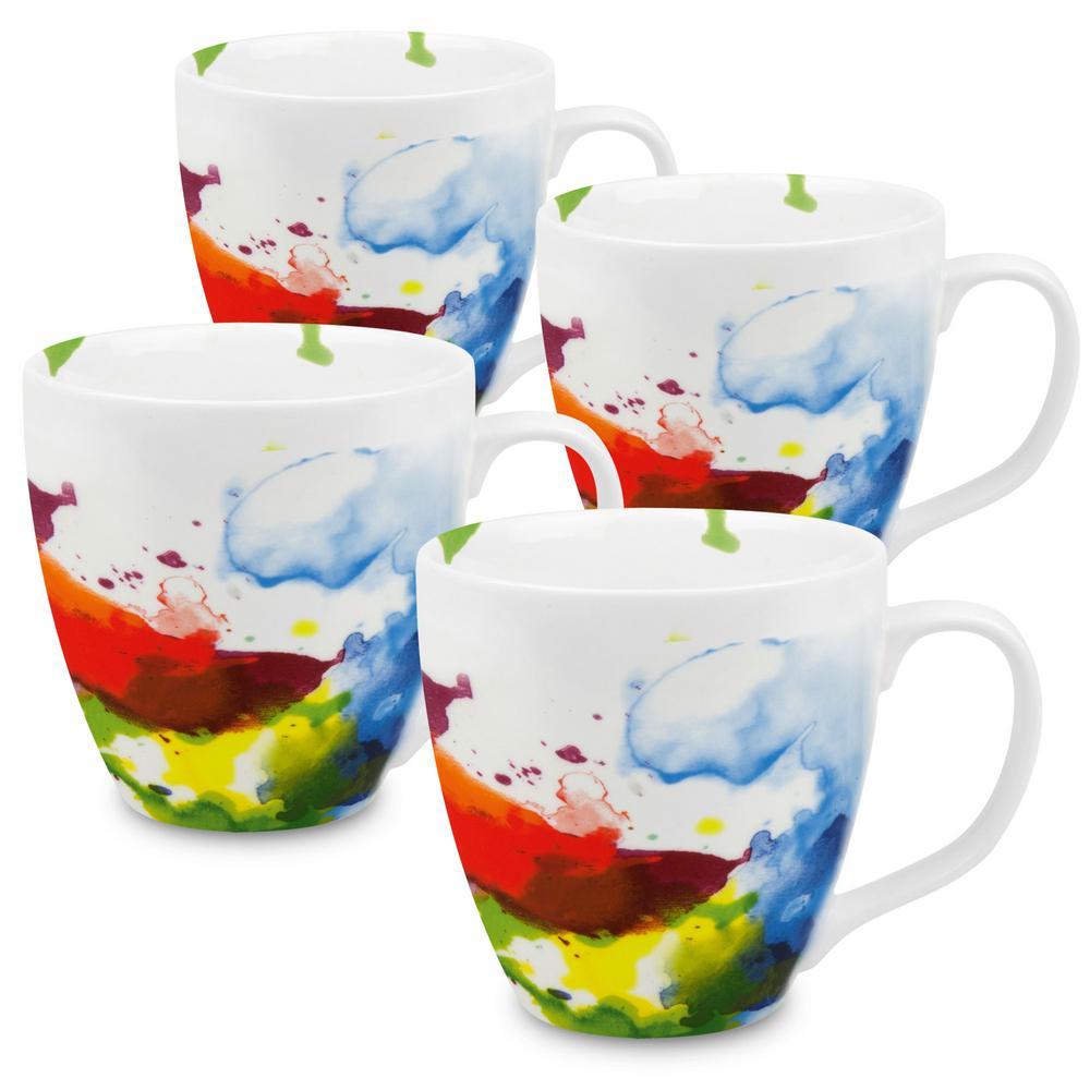 Konitz 4-Piece on Color Flow Porcelain Mug Set