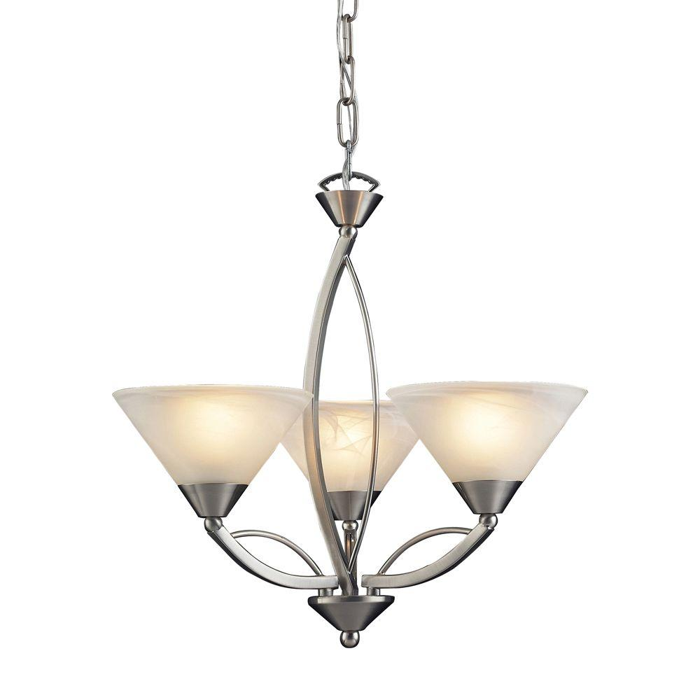 Titan Lighting Elysburg 3 Light Satin Nickel Ceiling Mount Chandelier
