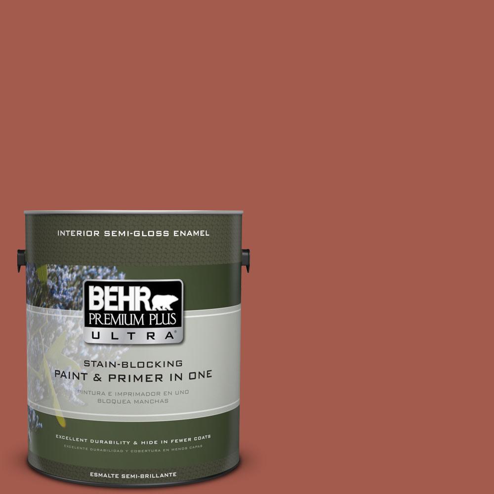 BEHR Premium Plus Ultra 1-gal. #PPU2-15 Cajun Red Semi-Gloss Enamel Interior Paint