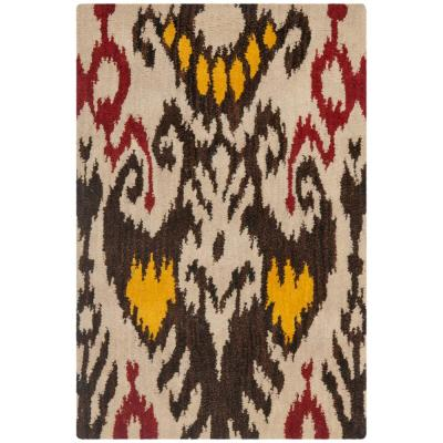 Ikat Wool Brown Area Rugs Rugs The Home Depot