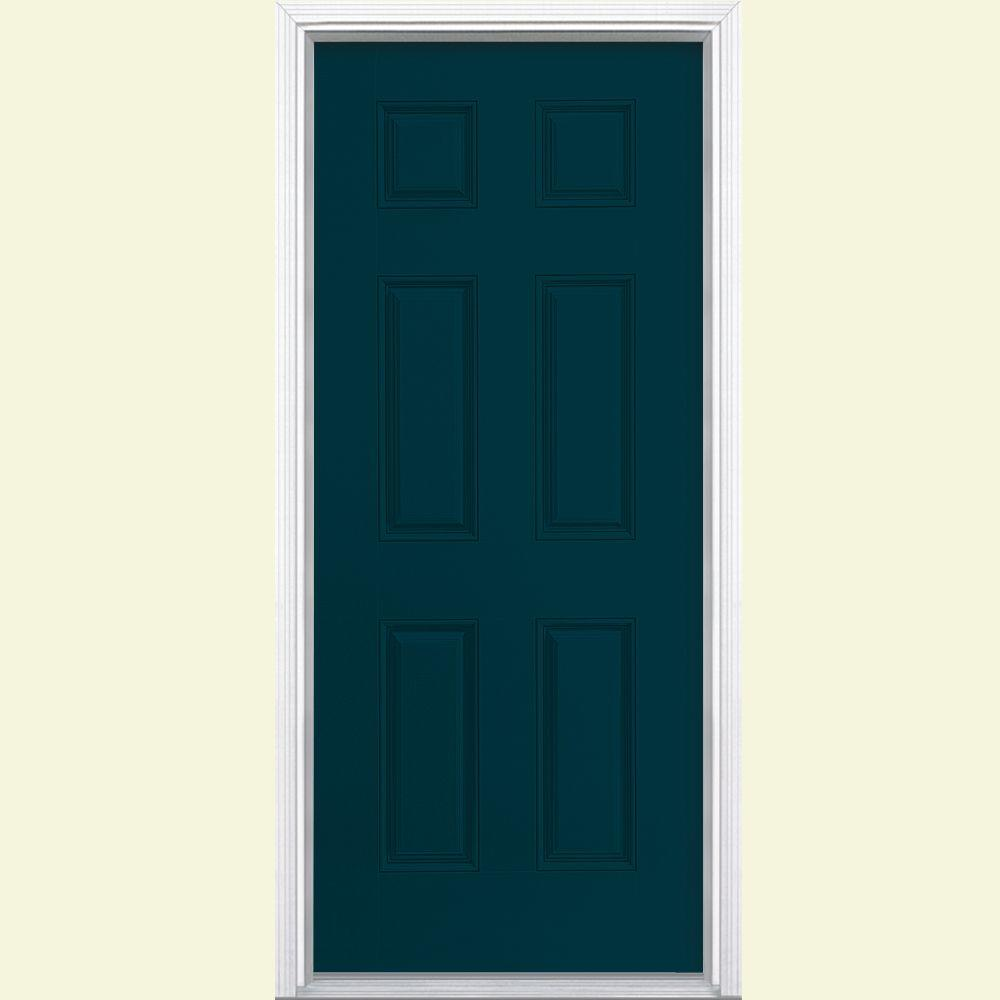 Masonite 36 in. x 80 in. 6-Panel Night Tide Left Hand Inswing Painted Smooth Fiberglass Prehung Front Door with Brickmold