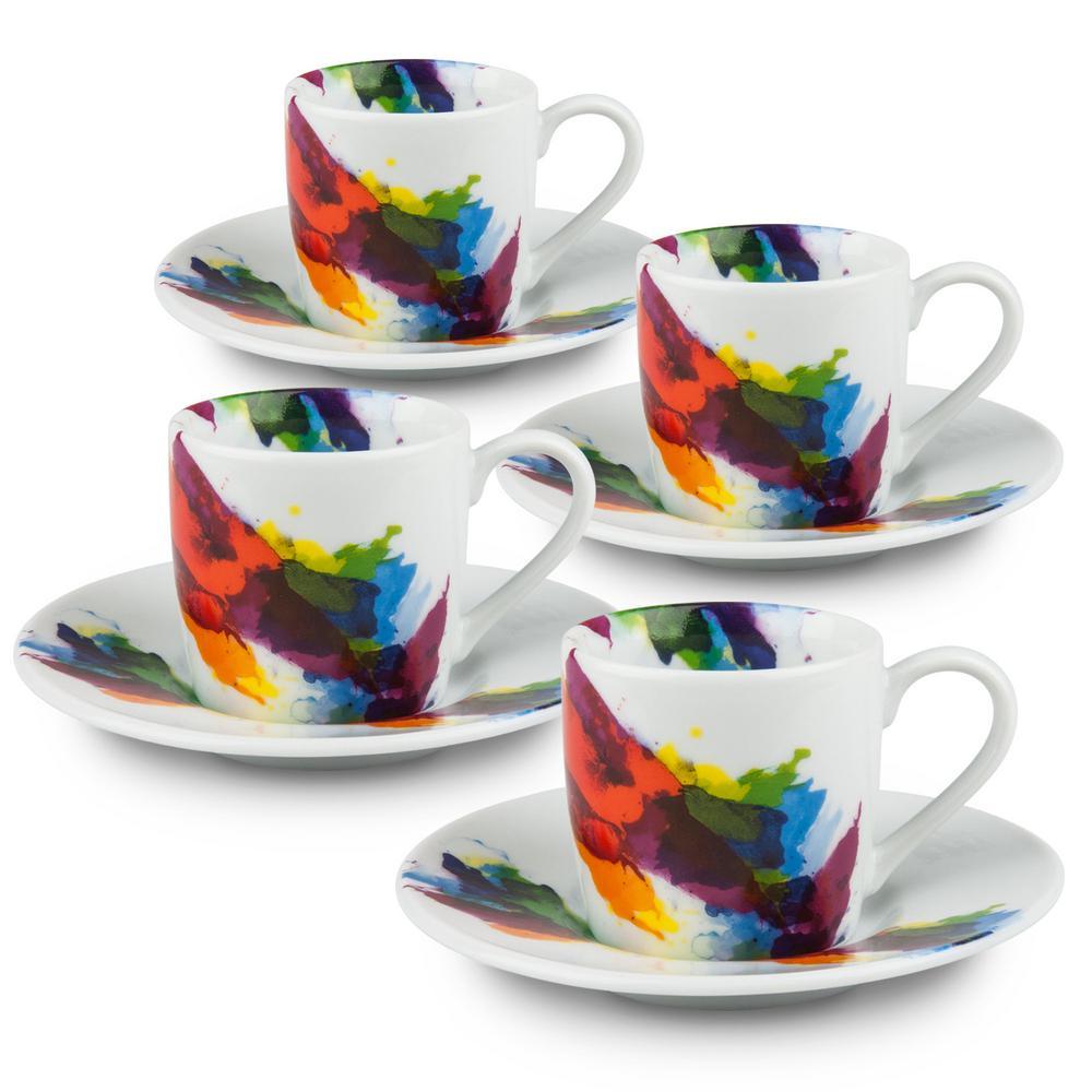 Konitz 4-Piece on Color Porcelain Espresso Cup Set with Saucers