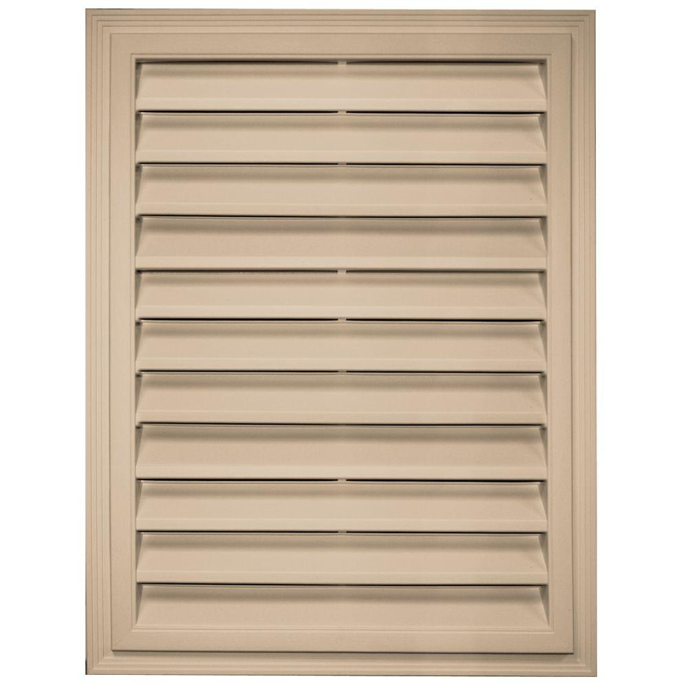 Builders edge 18 in x 24 in rectangle gable vent in tan for Gable decorations home depot