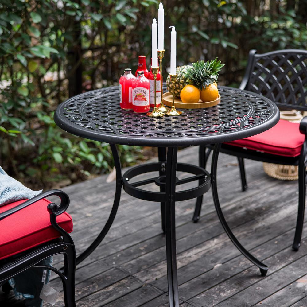 36 Inch Outdoor Round Patio Aluminum Bistro Table with Umbrella Hole in Antique Bronze