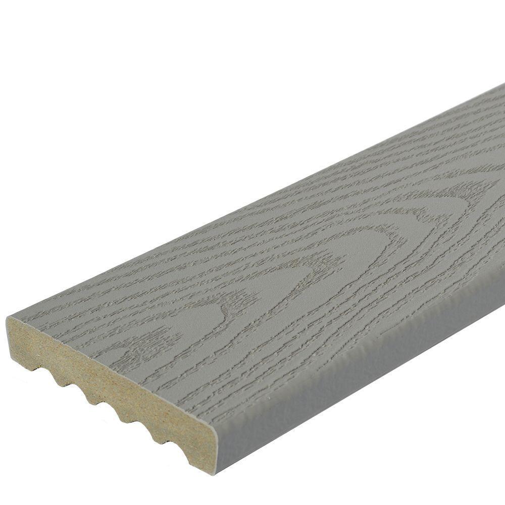 Veranda 1 in. x 5-1/4 in. x 1 ft. Gray Square Edge Capped Composite Decking Board Sample