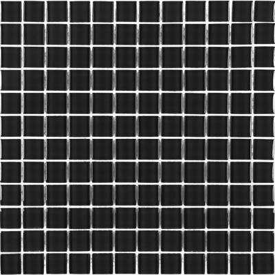 Metro Galaxy Black Grid Mosaic 1 in. x 1 in. Glossy Glass Mesh Mounted Wall Tile (1 Sq. ft.)