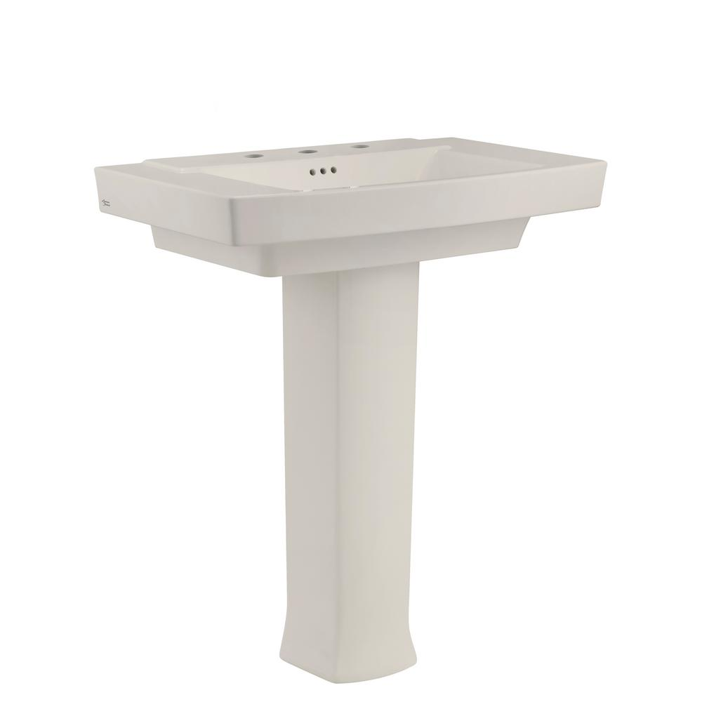 American Standard Townsend Pedestal Sink in Linen with 8 in. Faucet ...