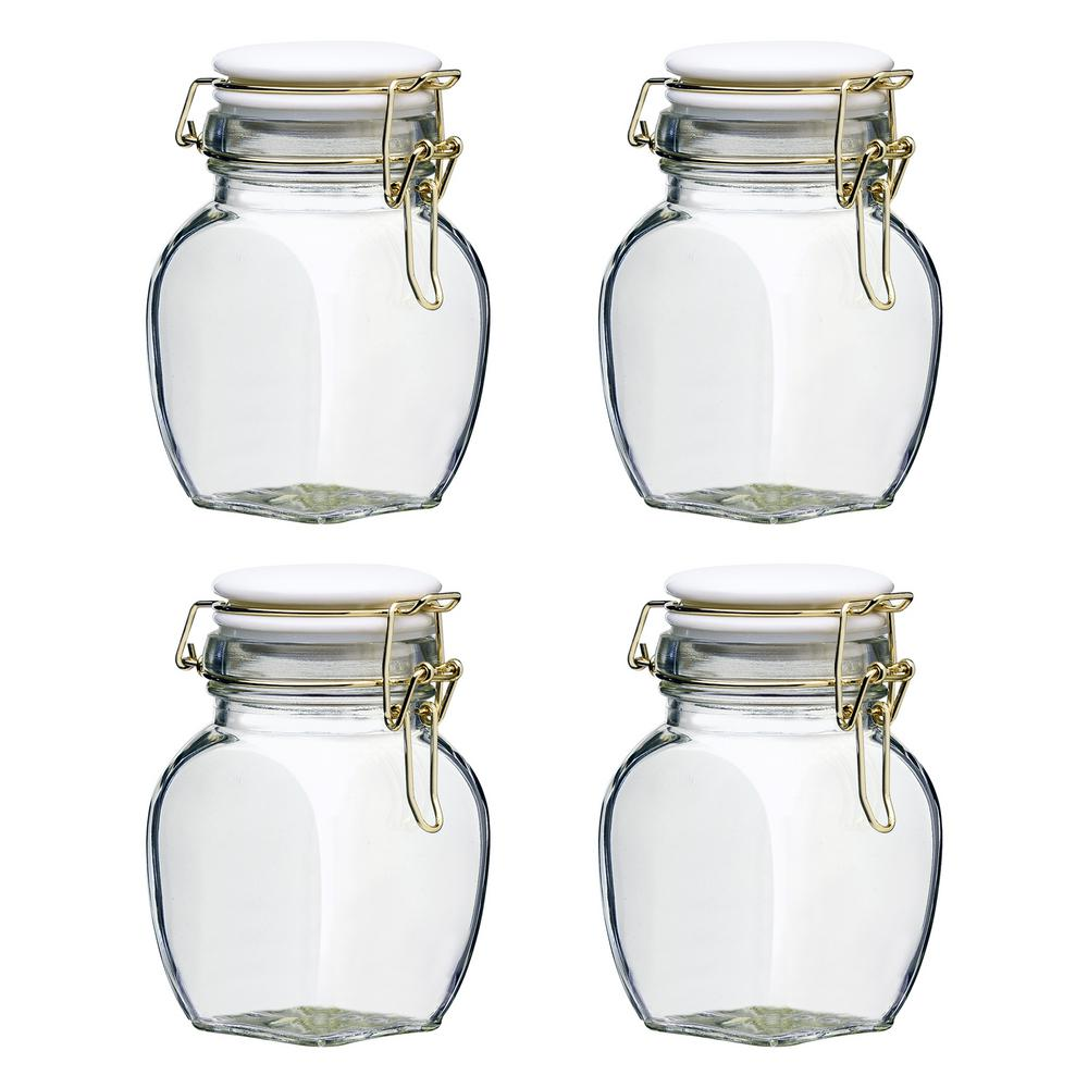 Charlotte 12 oz. 4-Piece Glass Hermetic Mini Canister Set with Ceramic