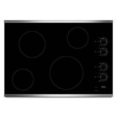 30 in. Radiant Electric Cooktop in Stainless Steel with 4 Elements including an AccuSimmer Element