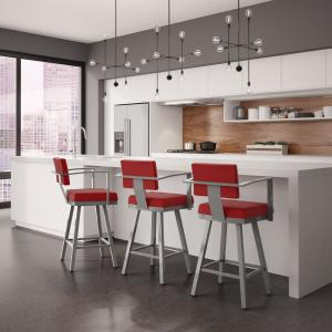 Akers 26 in. Glossy Grey Metal Red Polyester Counter Stool