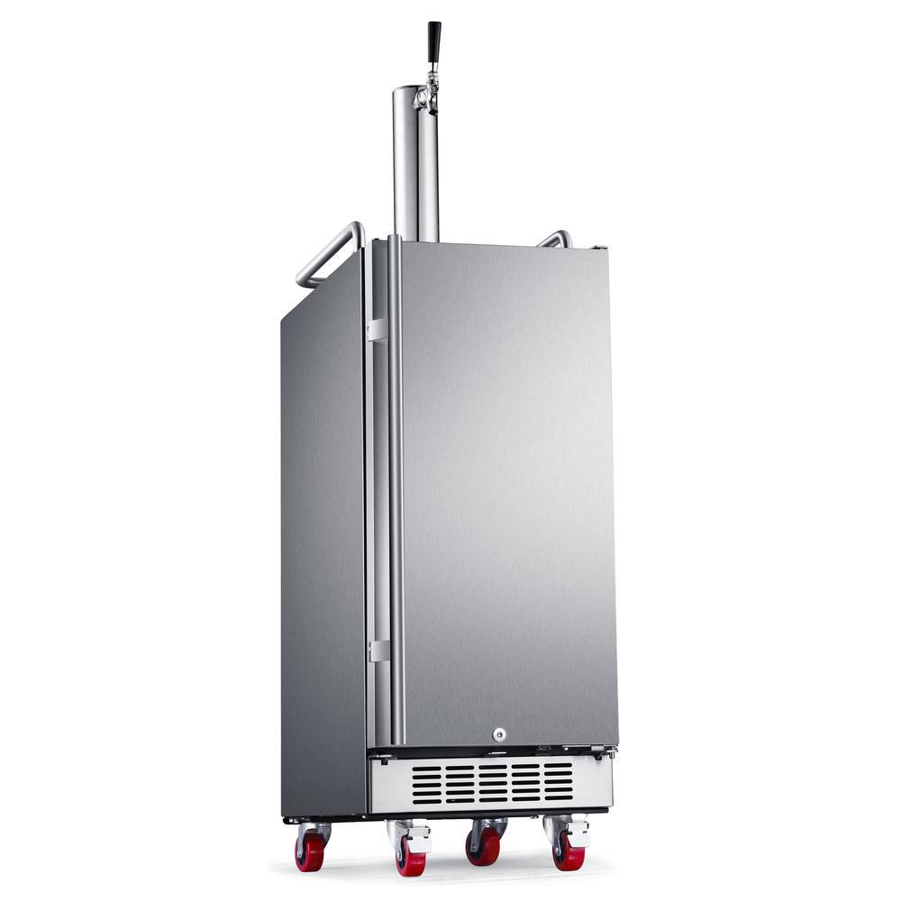 EdgeStar Single Tap 15 in. Outdoor 1/4 Barrel Beer Keg Dispenser with Air Cooled Beer Tower in Stainless Steel