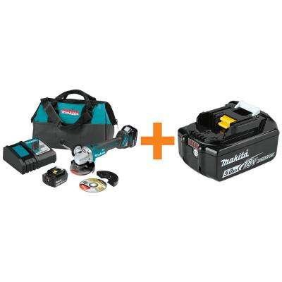 18-Volt 5.0Ah LXT Brushless 4 -1/2/-5 in. Angle Grinder Kit with Bonus 18-Volt LXT Lithium-Ion Battery Pack 5.0Ah