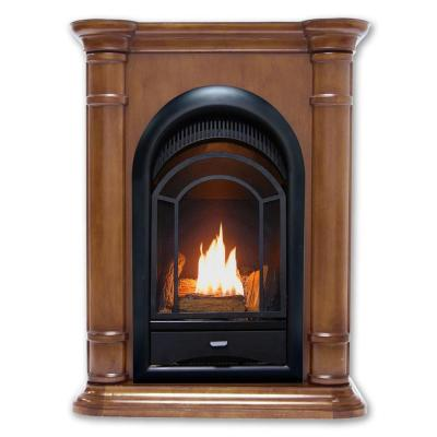 28 in. Ventless Dual Fuel Fireplace in Walnut with Thermostat Control