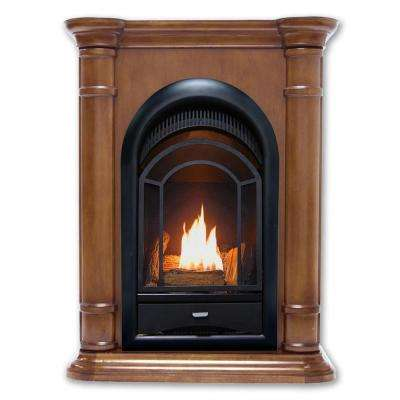 28 in. Ventless Dual Fuel Fireplace in Walnut Finish with Thermostat Control