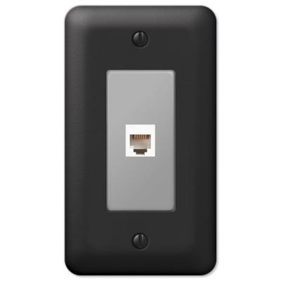 Declan 1 Gang Phone Steel Wall Plate - Black